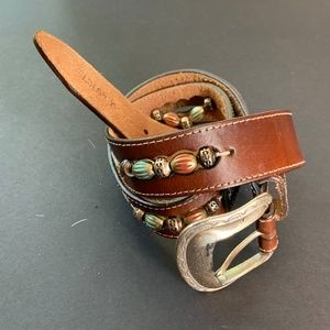 Brighton M Brown Leather Belt Multi Colored Beads